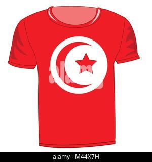 T-shirt flag Tunisia - Stock Photo
