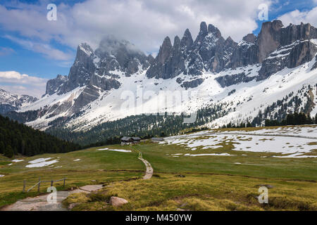 A view of the Odle dolomites from Brogles refuge, park Puez, Funes valley, Bolzano province, South Tyrol region, - Stock Photo