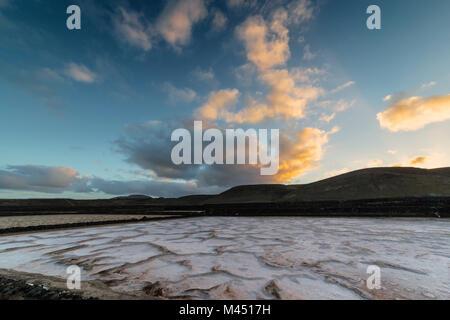 sunrise in the Salinas de Janubio, Yaiza, Lanzarote, Canary Islands, Spain - Stock Photo