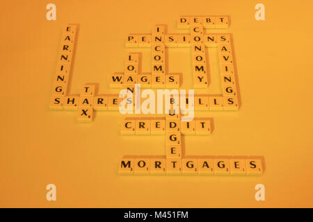 Alphabet tiles forming financial instruments, financial system, money related terms. Emphasis in Wages, Bills, Credit. - Stock Photo