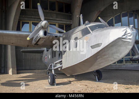 BELGRADE, SERBIA - Short SA.6 Sealand light amphibious twin engine aircraft presented on the yard of the Belgrade - Stock Photo