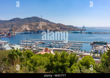 View over Torres Park and that marina from the Castle of the Conception in the Mediterranean city of Cartagena, - Stock Photo