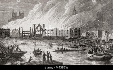The burning of The Houses of Parliament, London, England, 1834.  From The Martyrs of Tolpuddle, published 1934. - Stock Photo