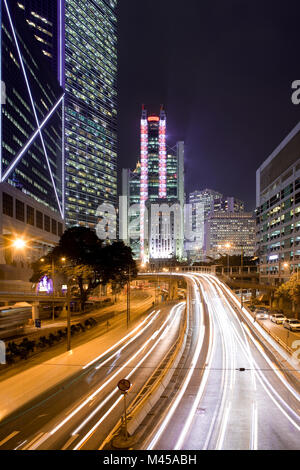 Traffic on Queensway Road at Admiralty, Chung Wan (central district), Hong Kong Island, China, Asia - Stock Photo