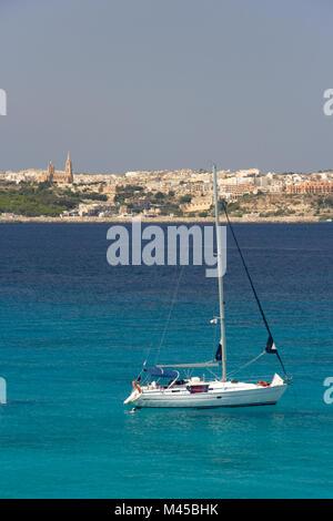 View from Comino to Gozo, Malta. - Stock Photo