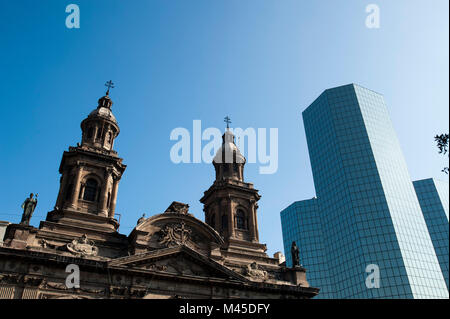 Metropolitan Cathedral, Plaza de Armas, Santiago, Chile - Stock Photo