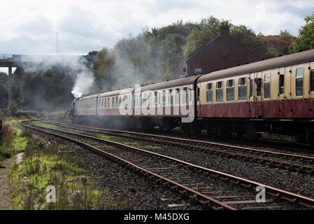 Thompson B1 Locomotive Leaving Whitby Station - Stock Photo