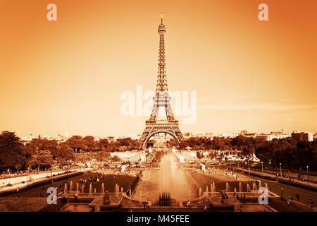 Eiffel Tower seen from fountain at Jardins du Trocadero - Stock Photo
