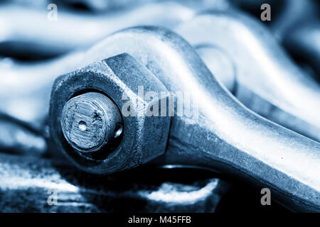 Industrial wrench, spanner in workshop. Industry theme. - Stock Photo