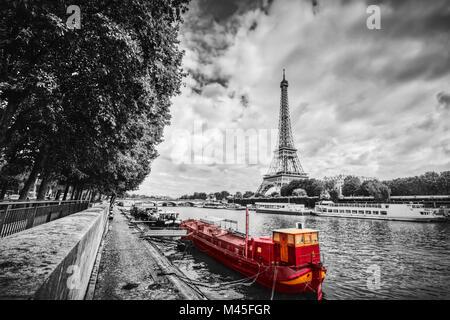 Eiffel Tower over Seine river in Paris, France. Vintage - Stock Photo