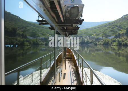 A perfect reflection on the water whilst cruising the River Douro on the Spirit of Chartwell - Stock Photo