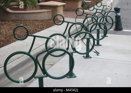 Cycle racks add to the street furniture on Coronado Island, San Diego - Stock Photo