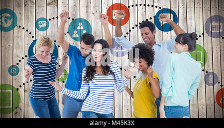 Composite image of creative business team having fun - Stock Photo
