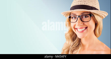 Composite image of gorgeous blonde hipster smiling