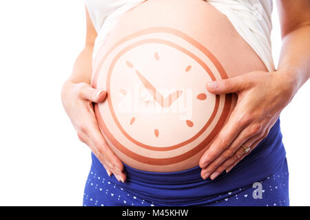 Composite image of pregnant woman holding her bump - Stock Photo