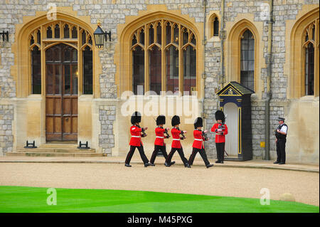 Queen's Guards,royal guards at Windsor Castle,Windsor,Great Britain,Europe - Stock Photo