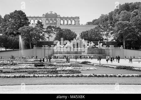 VIENNA, AUSTRIA - JULY 30, 2014: The castle Schonbrunn - Gloriette and garden and Neptune fountain. - Stock Photo