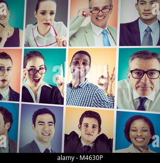 Composite image of thinking businesswoman - Stock Photo
