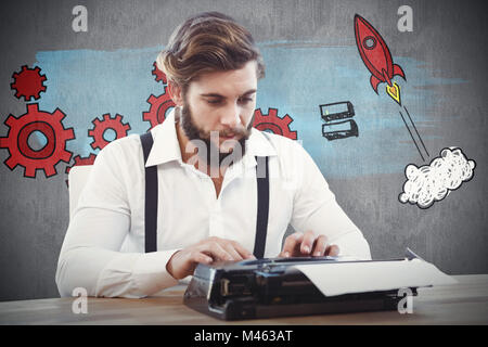 Composite image of hipster working on typewriter - Stock Photo