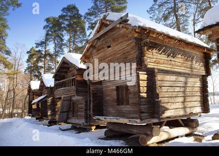 Rustic wooden house in the open-air museum Seurasaari island - Stock Photo