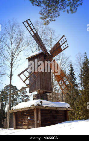 Old wooden mill in the open-air museum Seurasaari island - Stock Photo
