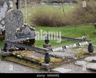 The grave of Rob Roy McGregor at Balquhidder Church, Balquhidder, Strathyre, Scotland, UK - Stock Photo