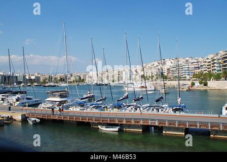 Boats moored in the Zea Marina at Piraeus in Athens, Greece on April 24, 2017. The 670 berth marina was completely - Stock Photo