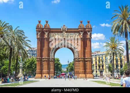 View of Arc de Triomf in beautiful summer day. Location near Parc de la Ciutadella in Barcelona. Catalonia, Spain - Stock Photo