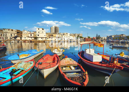 Traditional colorful fishing boats at old port in Bizerte. Tunisia, North Africa - Stock Photo