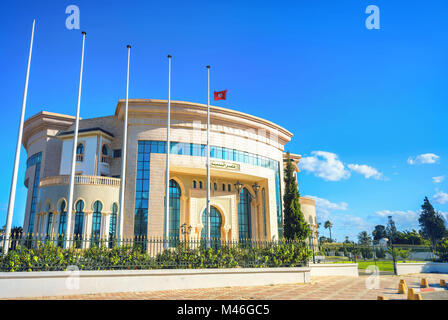 Modern palace of marriage, wedding ceremony and registration new  born child. Nabeul, Tunisia, North Africa - Stock Photo
