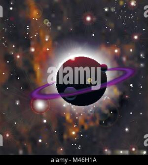 Realistic open space. The milky way, stars and planets. Cartoon fantasy space landscape. Alien planet background. - Stock Photo