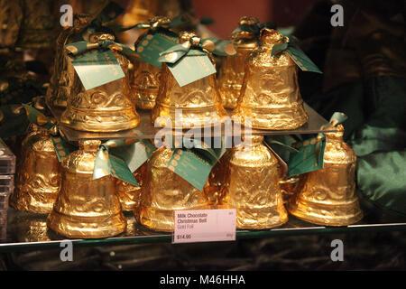 Milk Chocolate Christmas Bells - Stock Photo