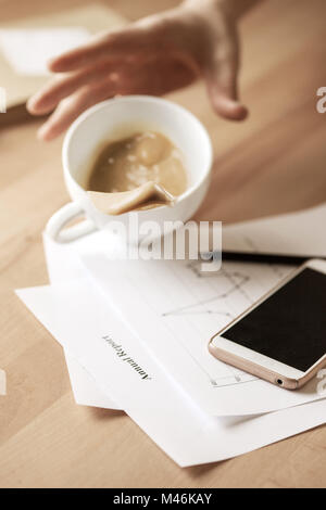 coffee in white cup spilling on the table in the morning working day m46kay Motion Coffee Table Spilling Coffee Stock Photo Image