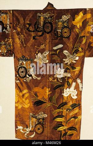 japan old kimono used during kabuki theatre performances - Stock Photo