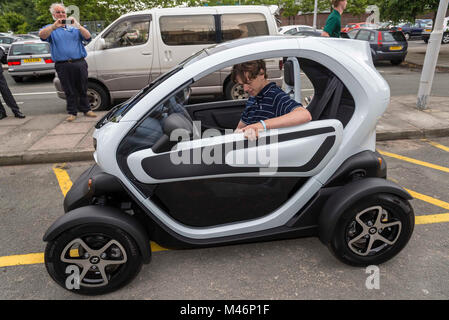 A one person Renault electric car. - Stock Photo