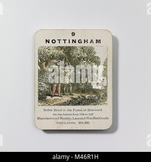 Vintage game - The counties of England card game 2nd series (c.1860) produced by John Jaques - Stock Photo