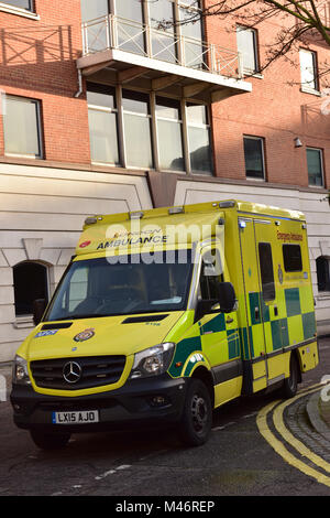 An emergency ambulance of the london ambulance service at the side of the road in central london. Response times - Stock Photo