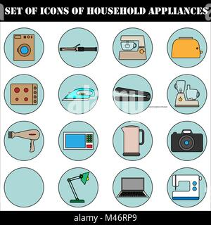 A set of icons of household electrical appliances. - Stock Photo