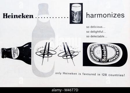1960s magazine advertisement for Heineken beer. - Stock Photo