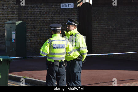Metropolitan Police response to World War II unexploded bomb incident at London City Airport in London's Royal Docks - Stock Photo