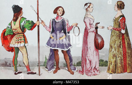 Clothing, fashion in Italy at the time of the early Renaissance around 1460-1490, from left, Italian youth with - Stock Photo
