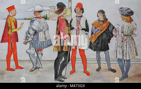 Clothing, fashion in Italy, early Renaissance 1425-1480, distinguished mens costumes, from left, a Margrave of Mantua, - Stock Photo