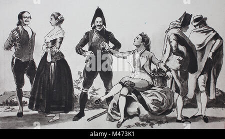 Fashion, costumes, clothing in Spain, 18th-19th century, from the left, a farmer and a peasant girl, a customs guard - Stock Photo