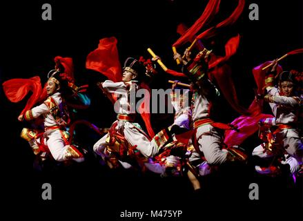 Yangon, Myanmar.  14th Feb, 2018. Chinese dancers perform during the Gala show of Paukphaw Carnival of Happy Chinese - Stock Photo
