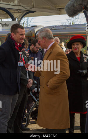 Durham, UK. 15th Feb, 2018. HRH The Prince of Wales arrives at Durham Railway Station on a visit to the city Credit: - Stock Photo