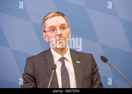 """Munich, Bavaria, Germany. 15th Feb, 2018. Herbert Kickl of Austria's extreme-right co-ruling party the FPÃ''"""" - Stock Photo"""