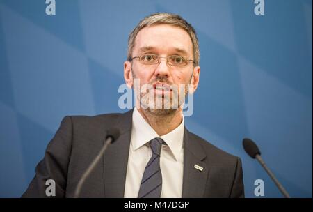 Munich, Bavaria, Germany. 15th Feb, 2018. Herbert Kickl of Austria's extreme-right co-ruling party the FPÃ- arrived - Stock Photo