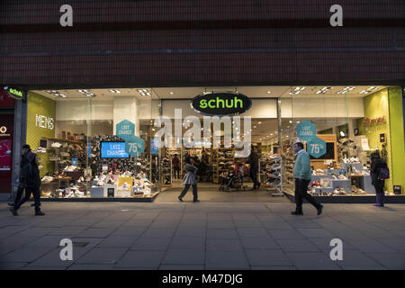 London, UK. 30th Jan, 2018. Schuh store seen in London famous Oxford street. Central London is one of the most attractive - Stock Photo