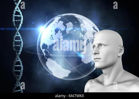 Composite image of illustration of dna and earth - Stock Photo