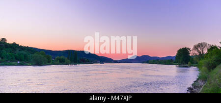 sunset with wonderful colors on the rhine - Stock Photo